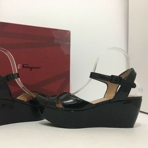 Salvatore Ferragamo Black Wedge Heel Sandals 8.5 M